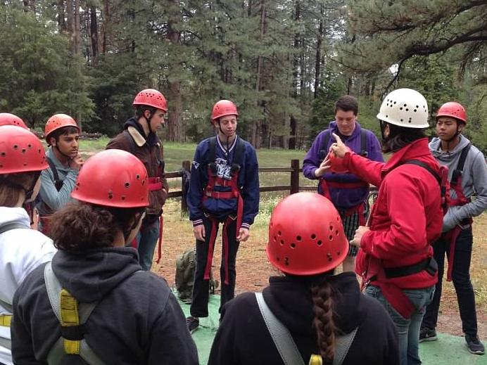 Delta students getting ready for the ropes course.