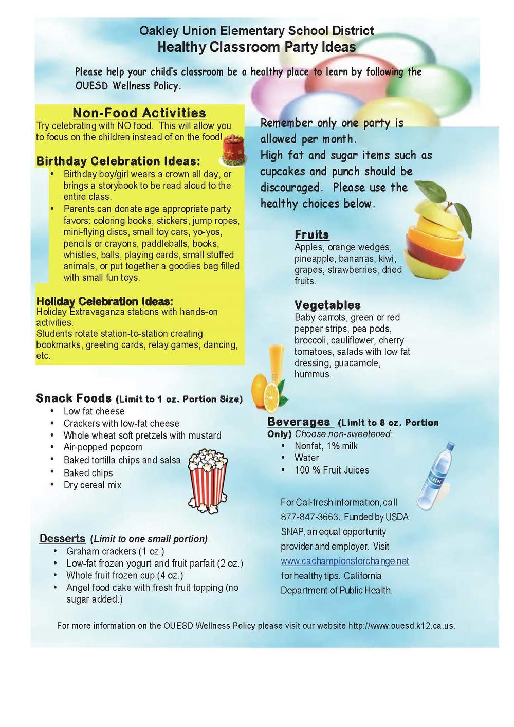 Healthy Classroom Party Ideas  English