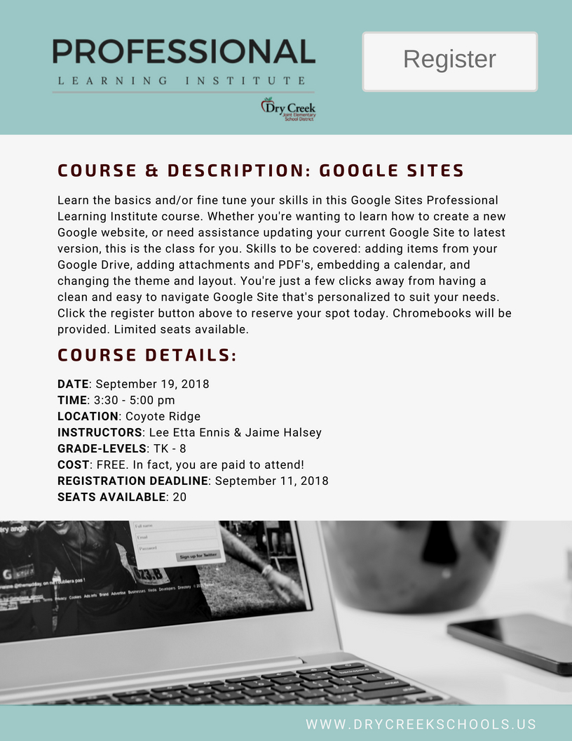 Professional Learning Institute Google Sites Course