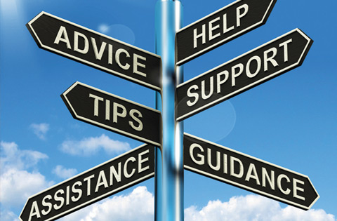 Street sign saying help, support, advice, tips