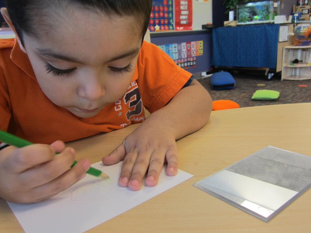 Child drawing with a green colored pencil