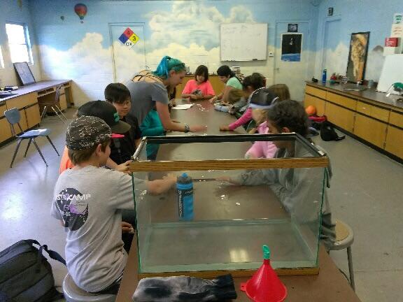 Atmosphere and gases class with 5th grade students at Astro Camp