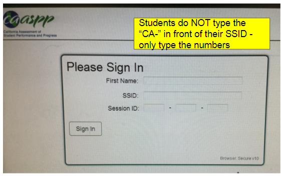 student sign in screen