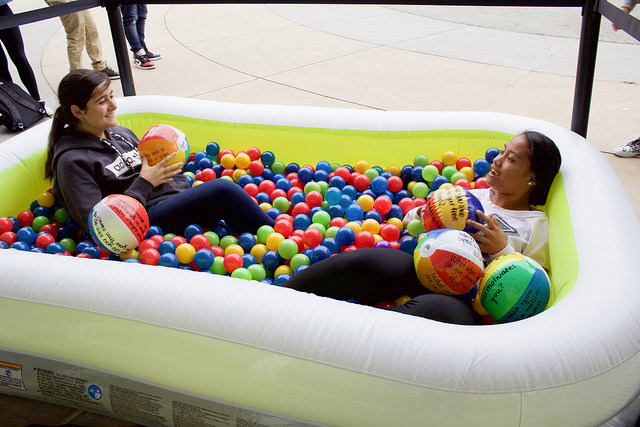 Mix It Up Week at EVHS 2 girls in ball pit