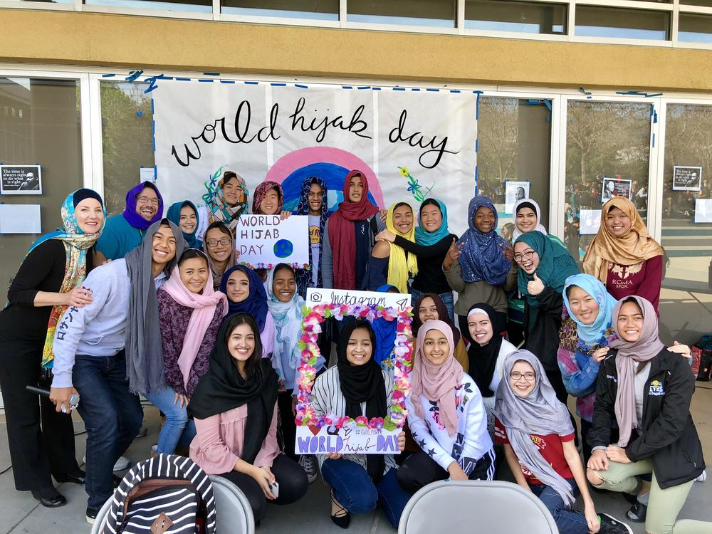 Students and staff wearing Hijabs in support of World Hijab day