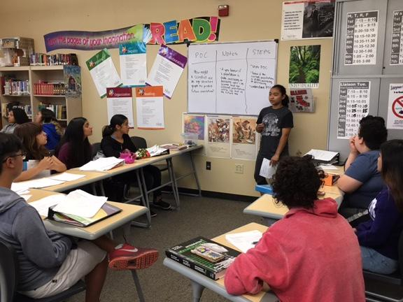 AVID Student leading a discussion in their POC