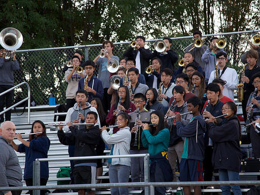 EVHS Pep Band performs at a home football game