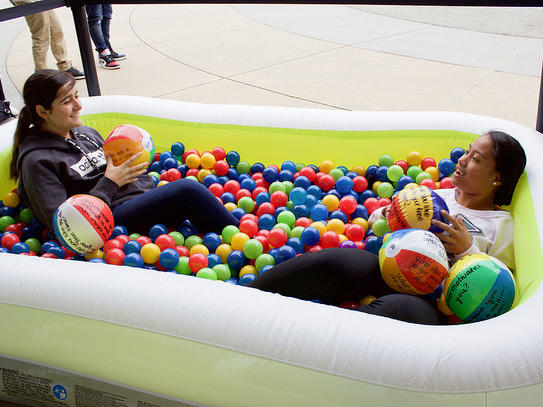 Mix It Up Week at EVHS - 2 girls in ball pit