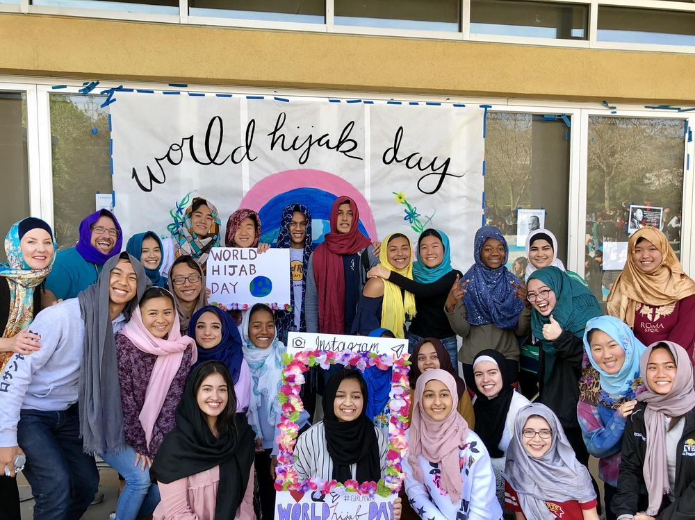 Image of students and staff wearing Hijabs for World Hijab Day Celebration