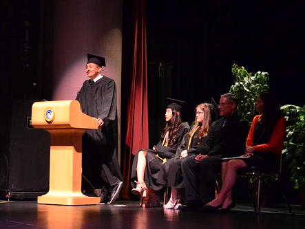 Kevin Garcia Delivering Speech at Commencement
