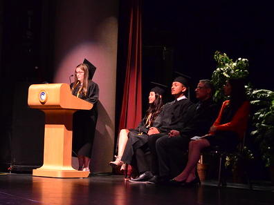 Cece Place Delivering Speech at Commencement Ceremony