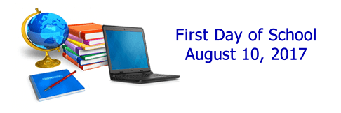 First Day of School is August 10, 2017 - See supply list on the Families page