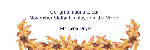 November Stellar Employee of the Month - Mr Leon Doyle