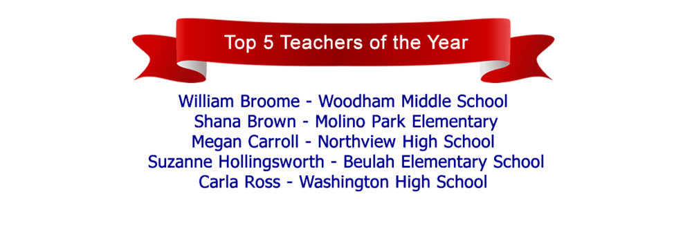 Top 5 Teachers of the Year William Broome, Shana Brown, Megan Carroll, Suzanne  Hollingsworth, and Carla Ross.