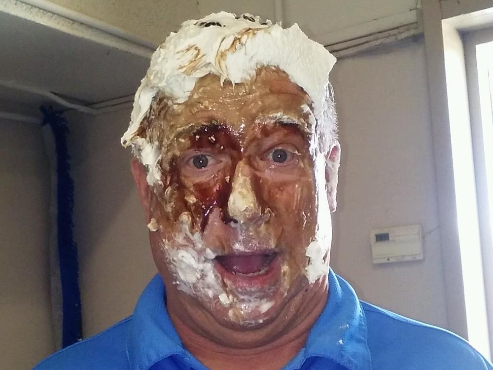Mr. McKinley got a pie in the face at the Jump rope for Heart Assembly!