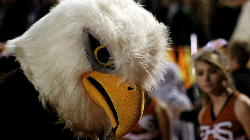 The mascot makes an appearance at assemblies and athletic contests.