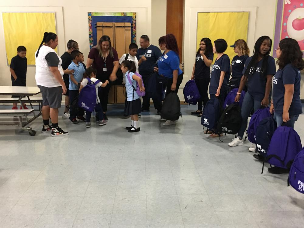 All the students at Washington Elmentary received Backpacks
