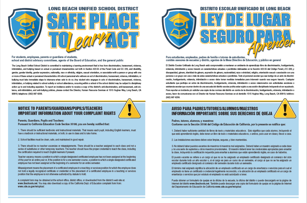 safe place to learn flyer