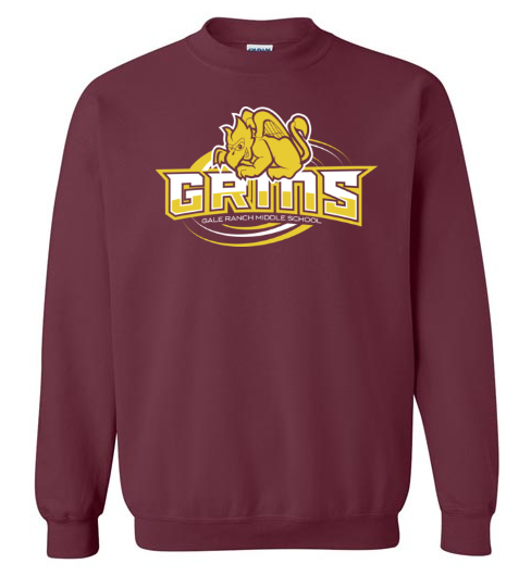 Maroon sweatshirt with GRMS logo