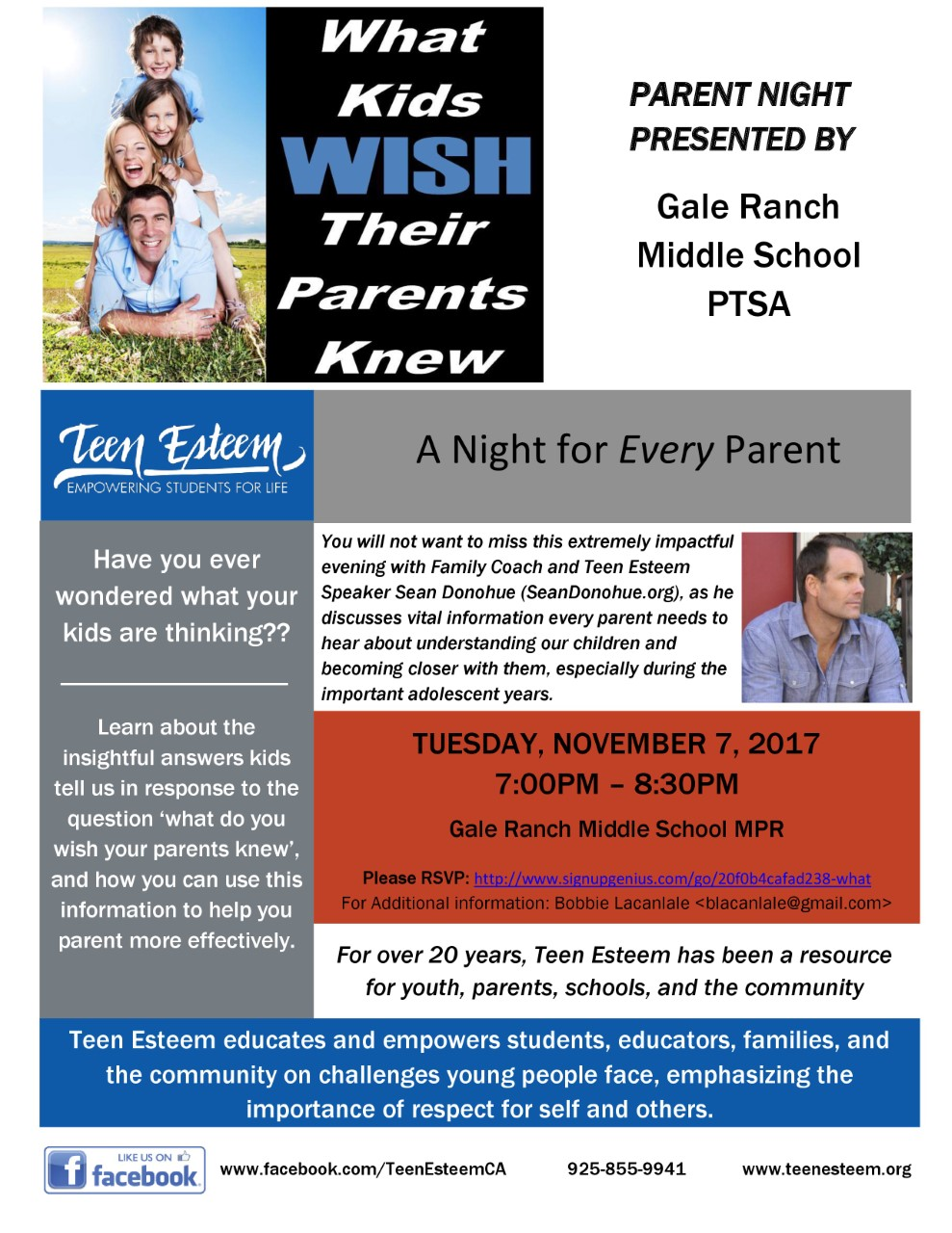 Flyer for Parent Night