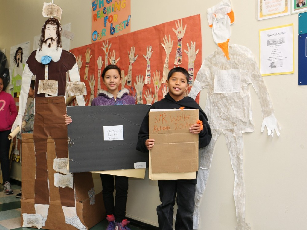 The fifth grade class displays their magnificent work in our halls.