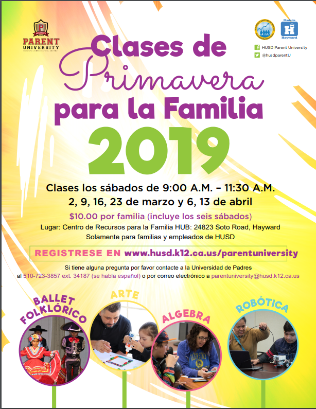 2019 Spring Family Classes Spanish
