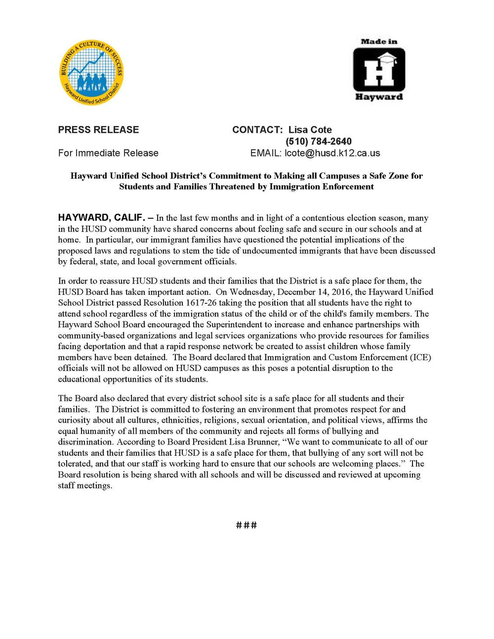 Sanctuary Schools press release