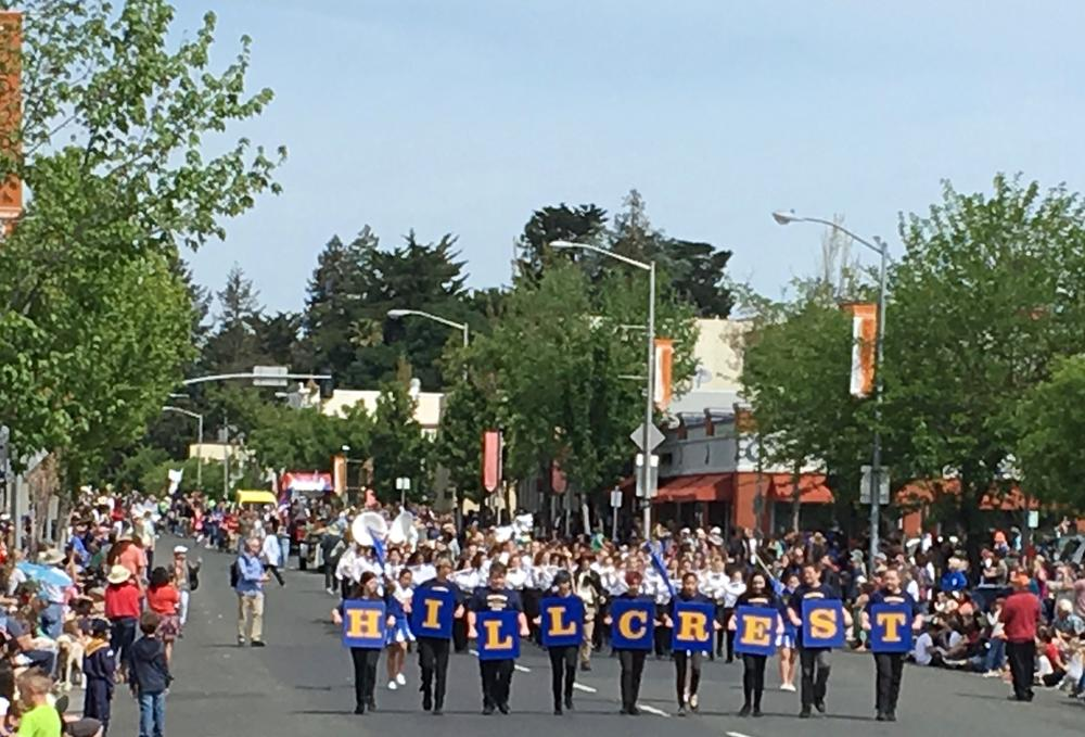 Students marching at the Apple Blossom Pareade