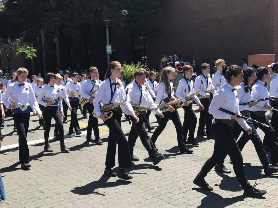 Students marching in band parade