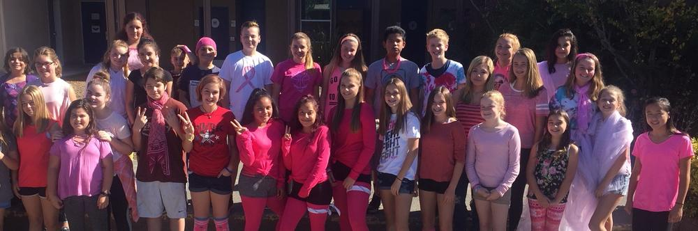 Students wearing pink for cancer awareness