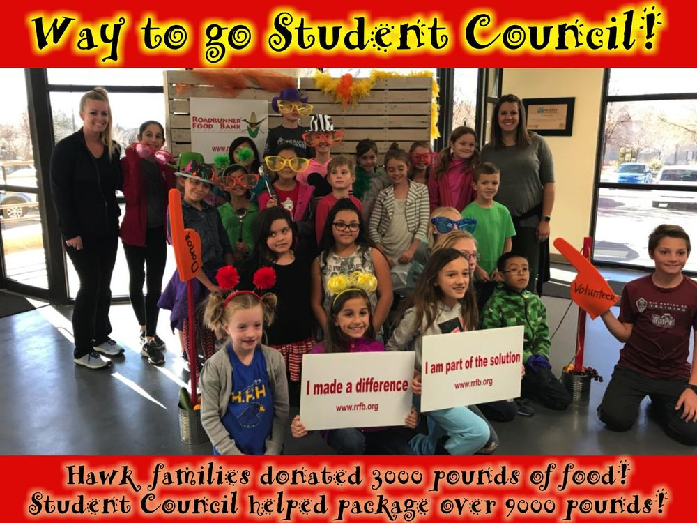 Way to go Student Council! Hawk families donated 3000 pounds of food! Student  Council helped package over 9000 pounds!