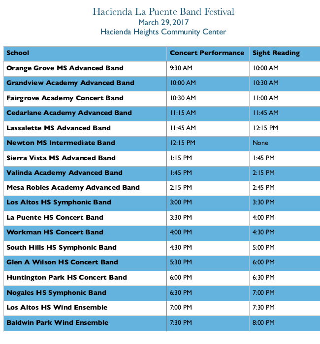 Band Festival Schedule