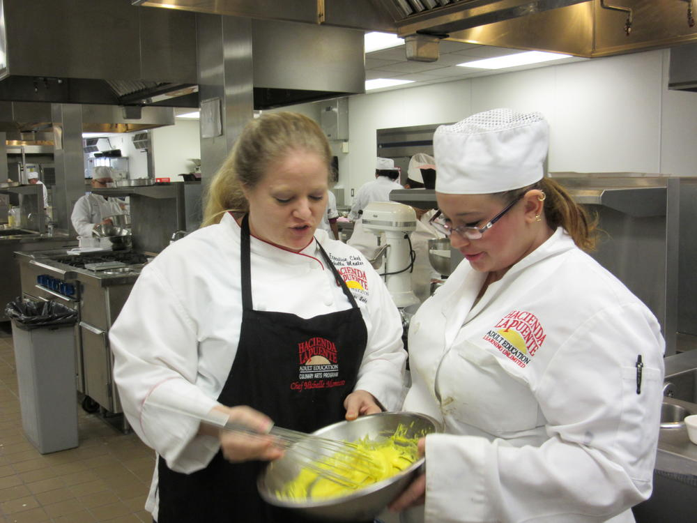 Culinary students preparing ingredients in the kitchen