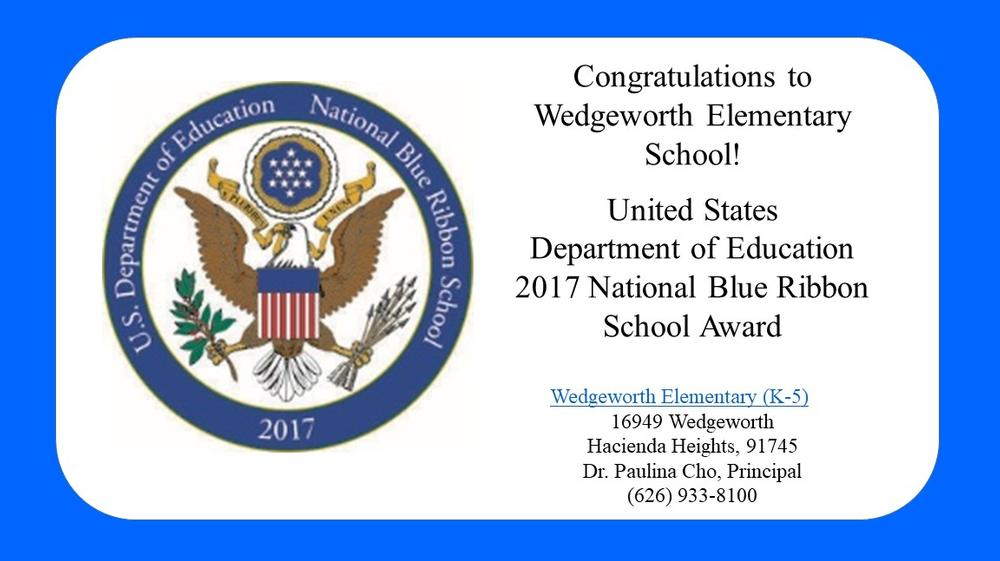 blue ribbon 2017 wedgeworth school