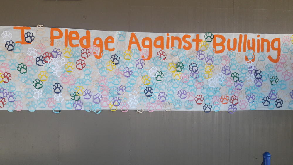 A banner with student names pledging against bullying