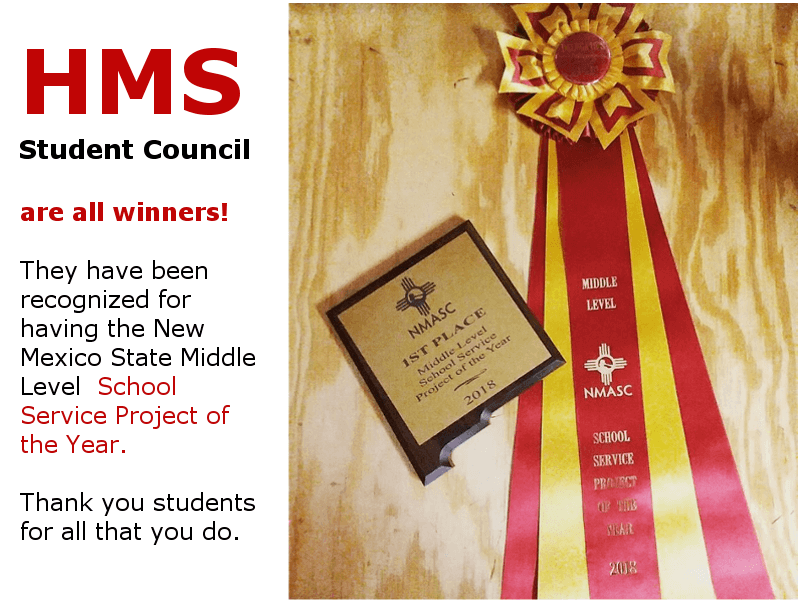 HMS Student Council Wins NMASC School Service Project of the Year 2018