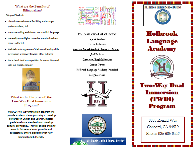 Holbrook Two-Way Dual Immersion pamphlet