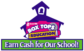 A school house with a Box Top coupon which says, Earn Cash for our School!