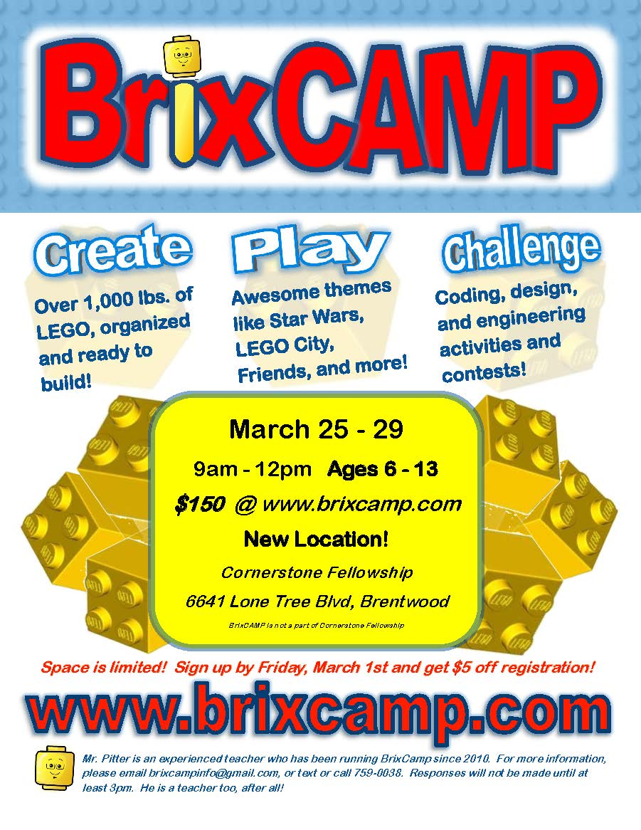 Brix Camp Information  March 25 -29 2019. Cornerstone Fellowship, Brentwood. www.brixcamp.com