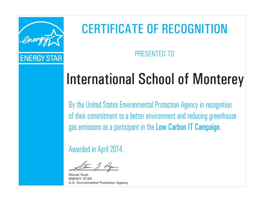 Low Carbon Energy Project Certificate of Recognition for ISM