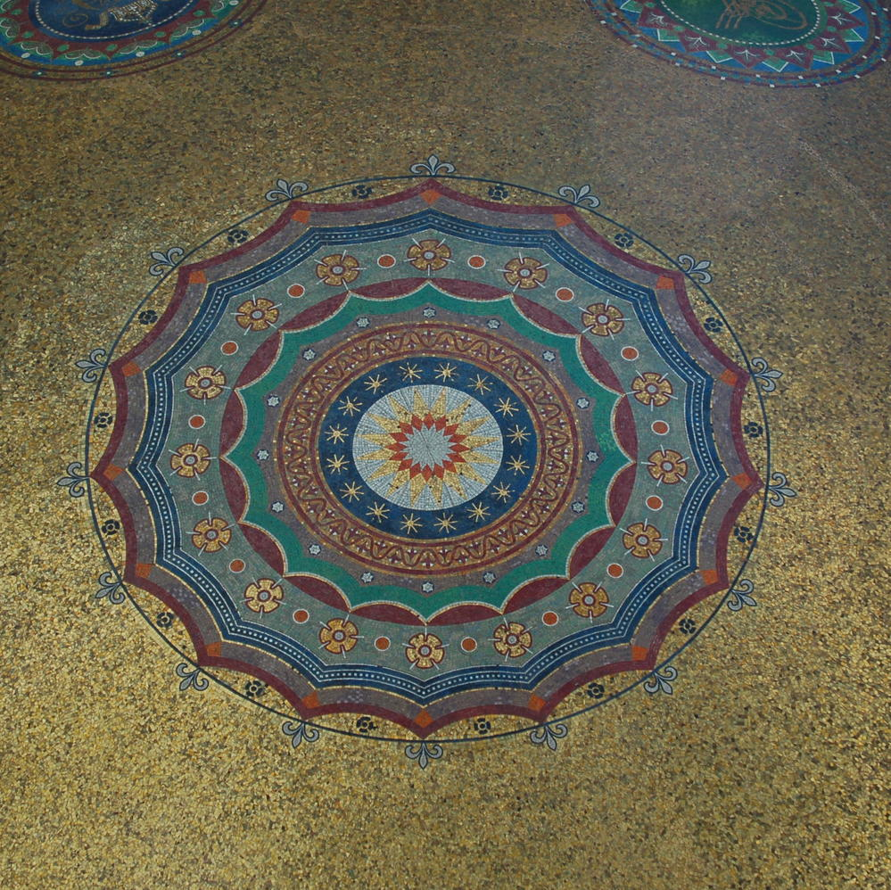 Looking up at the inside of a domed ceiling at an ablution site outside of the  Blue Mosque.