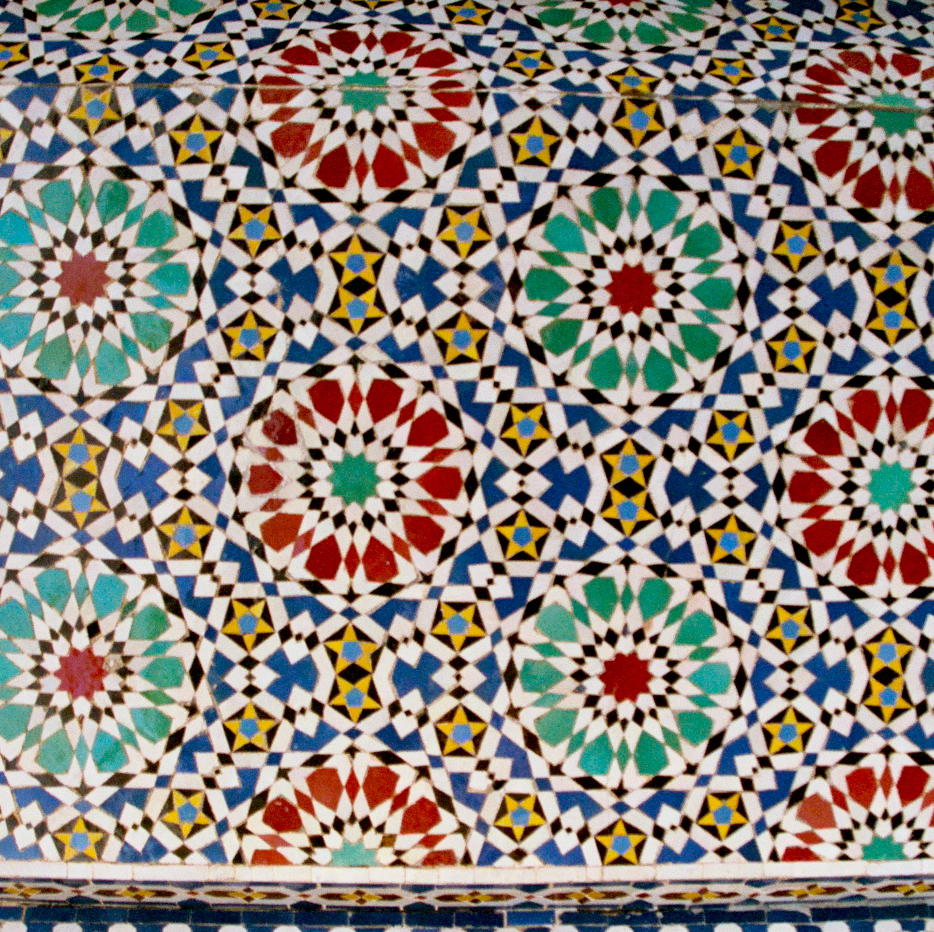 Beautiful colorful wall at a bus stop in Morocco!