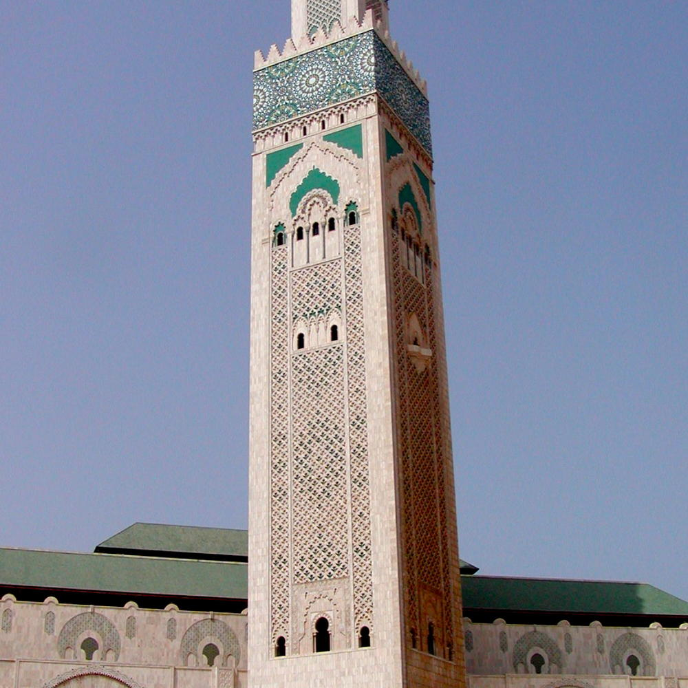 Minarette of the largest mosque on the African continent in Morocco.