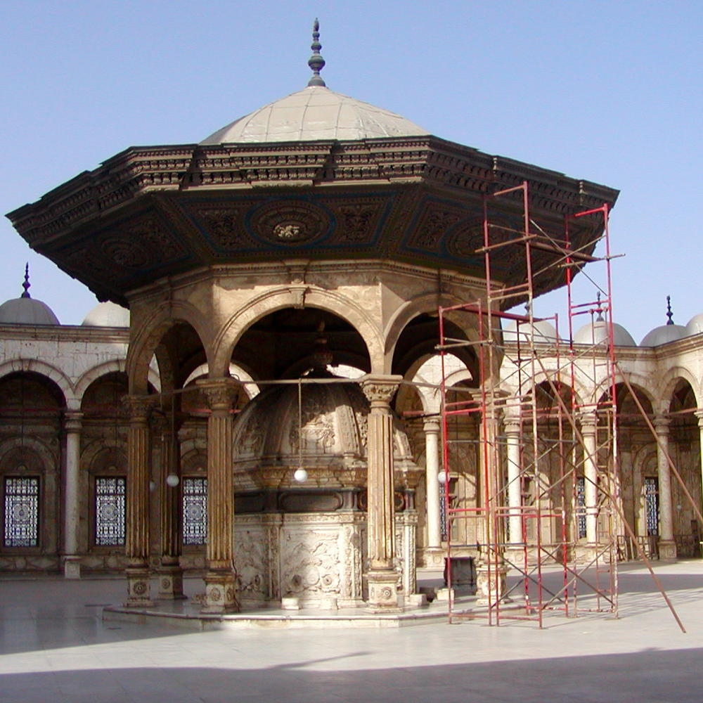 An ablution area outside of a mosque in Cairo, Egypt.