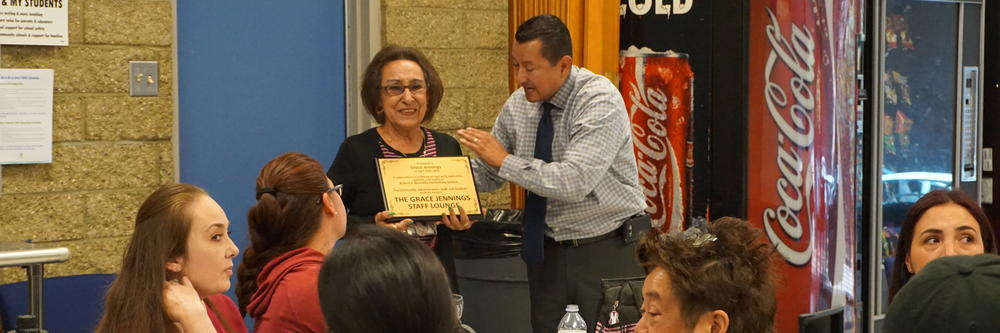 Dedicating the Grace Jennings Staff Lounge in appreciation of her hard work,  dedication, patience and Loyalty to Robert F. Kennedy Elementary School.