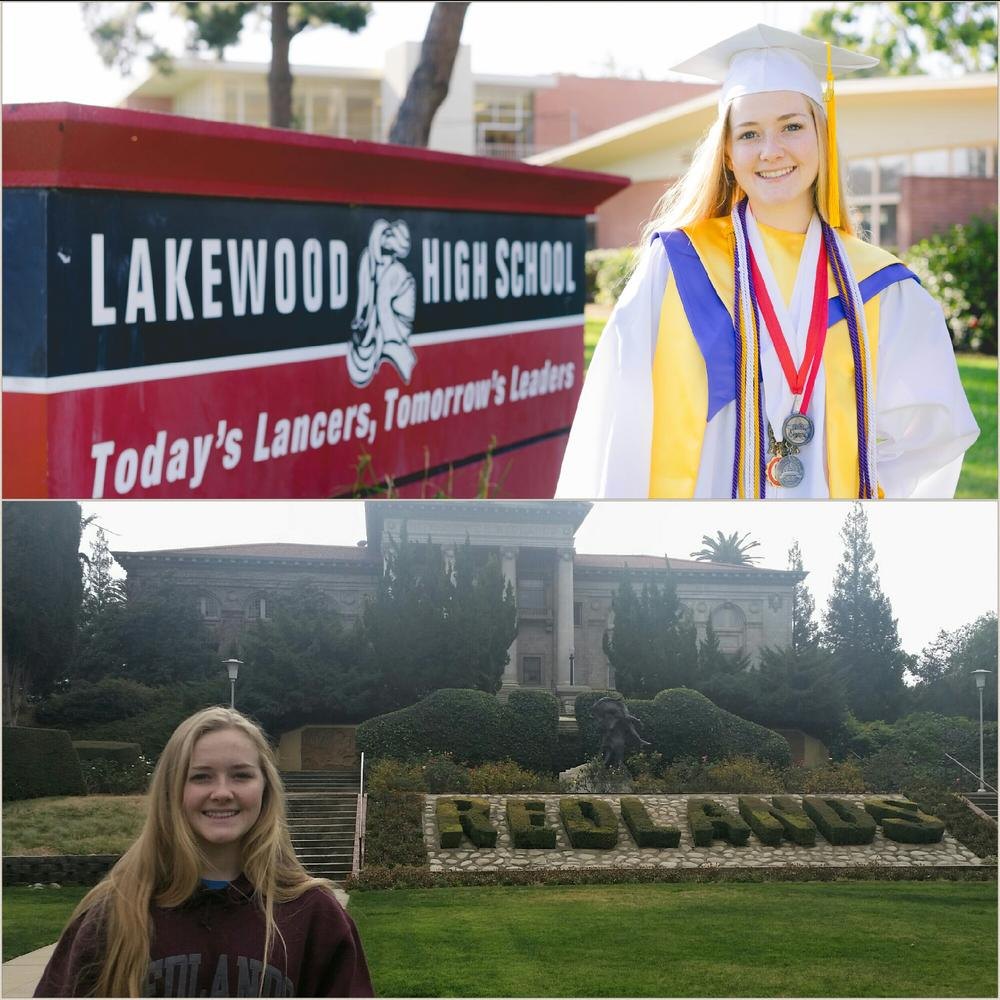 Grad in front of school sign