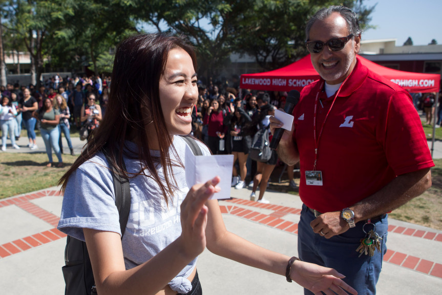 Lakewood High School s Angelina Kiet smiles after winning a ticket to winter formal during a rally to encourage students to perform better on standardized tests on Friday, September 21, 2018.  Photo by Drew A. Kelley, Contributing Photographer