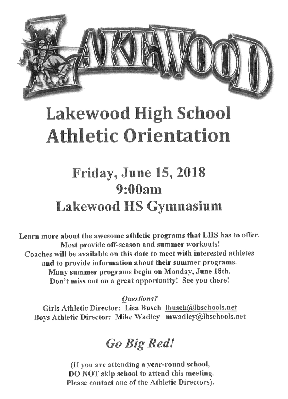 Athletics Orientation flyer