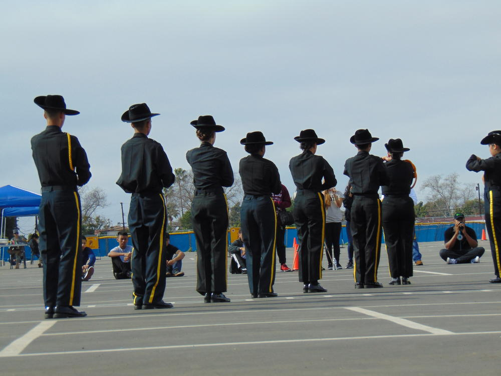 standing at attention