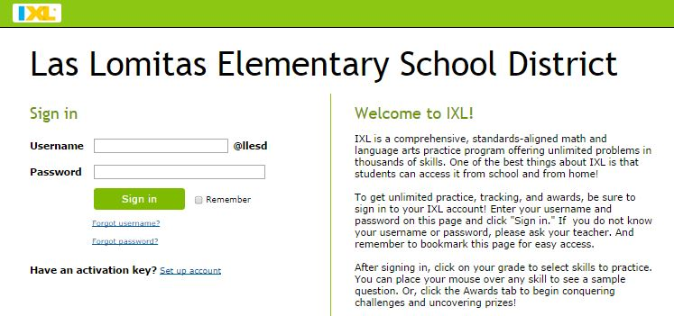 Image of Ixl and LLESD sign in screen